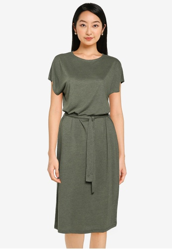 JACQUELINE DE YONG 綠色 短袖腰帶 洋裝 51247AACFC02CCGS_1