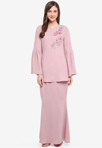 peace collections pink Trumpet Sleeves Kurung Modern 64938AA3B86933GS_1