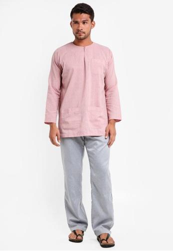 Lubna pink and beige Stripe Baju Melayu Teluk Belanga F3FC8AAFEB1CFDGS_1