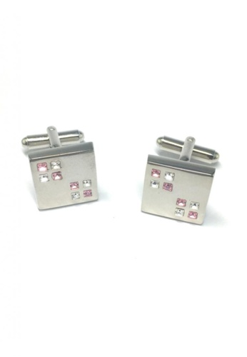 Splice Cufflinks silver Pink and White Small Crystals Square Cufflinks SP744AC21FSWSG_1