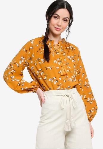 Zalia yellow Textured Peasant Blouse 95745AABFC6DDFGS_1