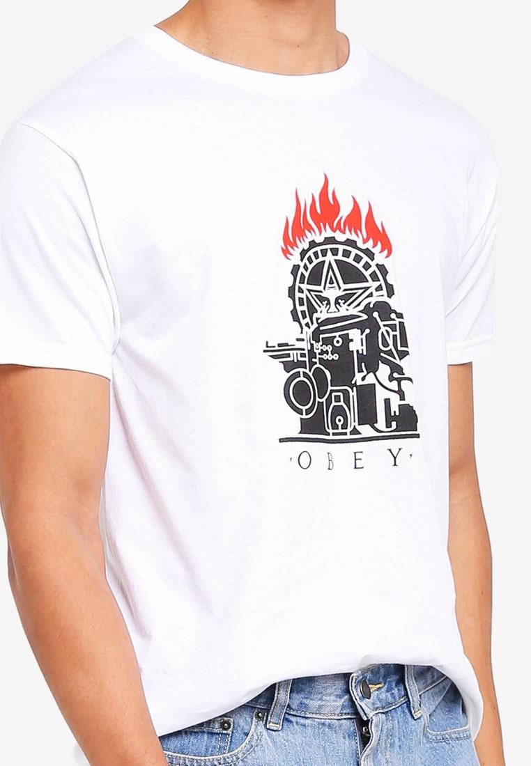 Press Stencil Printing OBEY Obey White Tee 5YWfcn