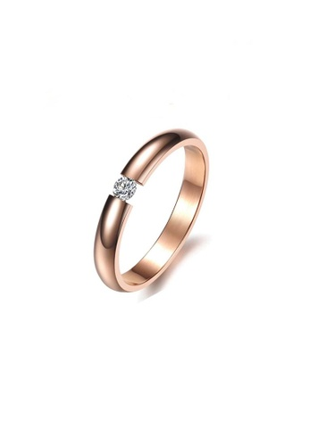 ADORA Stainless Steel Rose Gold Ring AD365AC2VQFMHK_1