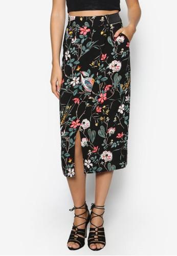 花鳥印花過膝裙, 服飾, 及zalora 手錶 評價膝裙