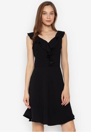 Pois black Ruffled V Cut Sleeveless Fit And Flare Dress 101BAAAAAF5112GS 1 f15bd1e14