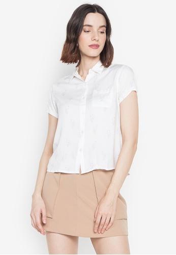 BNY white Ladies Full Print Short Sleeves Shirt 48715AA4D7491DGS_1