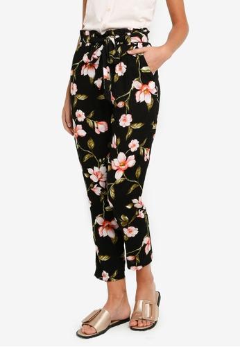 fc6c364262 Black Floral Print Jogger Pants