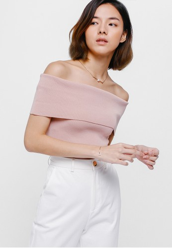 Love, Bonito pink Taria Off Shoulder Knit Top 15B69AAA45E6EEGS_1