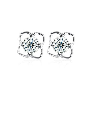 Glamorousky white 925 Sterling Silver Simple Fashion Elegant  Hollow Out Earrings and Ear Studs with Cubic Zircon 21792AC30CDB34GS_1