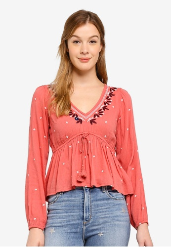 Abercrombie & Fitch red Embroidered Peasant Blouse B9864AA3CB530CGS_1