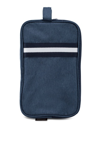 Bagstationz navy Strap Design Lightweight Water-Resistant Travel Toiletries Pouch C1A1EACAD5F353GS_1