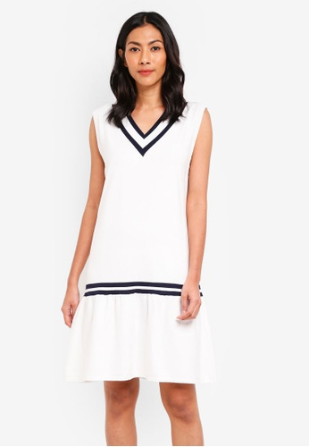 NAIN white Varsity Knit Flare Dress CB3C1AA0F36457GS_1
