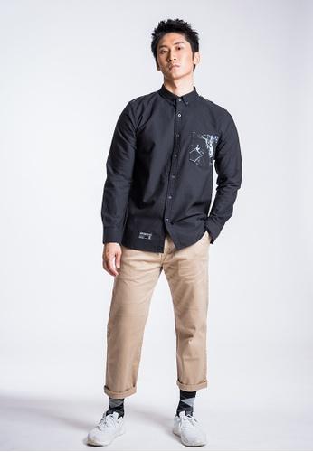 L.I.M.I.T.E 黑色 男裝雲石紋拼布牛津紡恤衫 A77CBAA9749E5DGS_1
