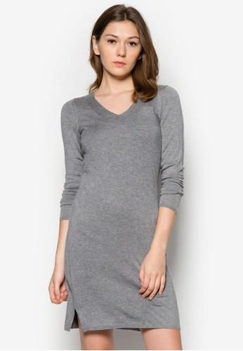 長zalora 包包評價袖針織連身裙, 服飾, 短洋裝