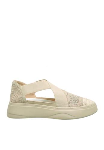 Twenty Eight Shoes 米褐色 彈力織帶和網布鬆糕鞋 VC887 8262ASH77F00A9GS_1