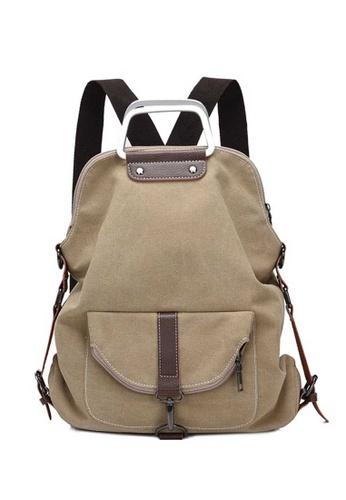 Lara beige Women's Canvas Zipper Backpack - Khaki 98706AC1DE3519GS_1