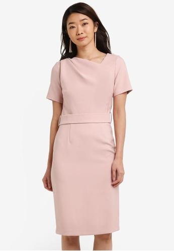 Dorothy Perkins pink Asymmetric Belted Pencil Dress DO816AA0RI8LMY_1