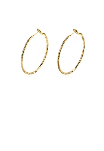 Glamorousky silver Fashion Simple Plated Gold Circle Earrings CBC46AC52DC5D9GS_1
