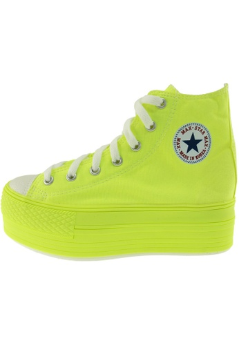 Maxstar 綠色 新款韩国鞋C50-7H-All-Neon時尚帆布布混合女綠色 US Women Size MA345SH45GVITW_1