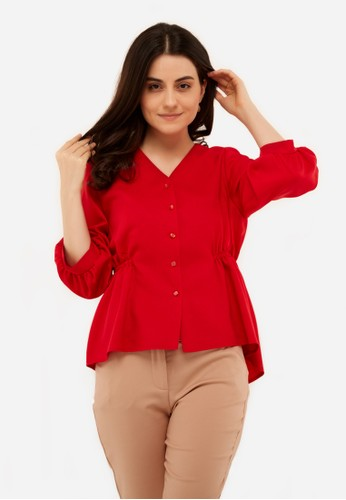 L'more red Rubber Curse Stitching Blouse 264D3AAB0674A8GS_1