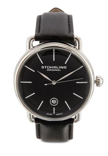 Stuhrling Original black Stuhrling Original Ascot Mens Black Watch - Swiss Quartz Analog Date Wrist Watch for Men - Stainless Steel Mens Designer Watch with Black Leather Strap 768.02 ST251AC69IKWMY_1