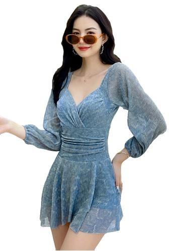 A-IN GIRLS blue Sexy Gauze Open Back One-Piece Swimsuit 7866DUSFE262C3GS_1