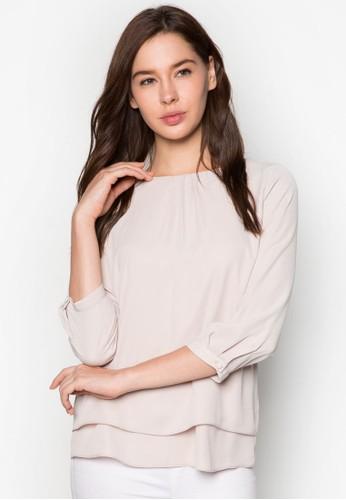 層zalora taiwan 時尚購物網疊下擺長袖上衣, 服飾, 上衣