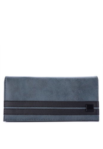 Penshoppe blue Color-Block Synthetic Leather Long Wallet 6AD6AACFF7354EGS_1