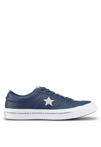 Converse white and navy One Star Ox Sneakers CO302SH0SW6UMY_1