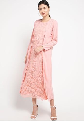 3H pink Layered Lace Kaftan EDABDAA81578DCGS_1