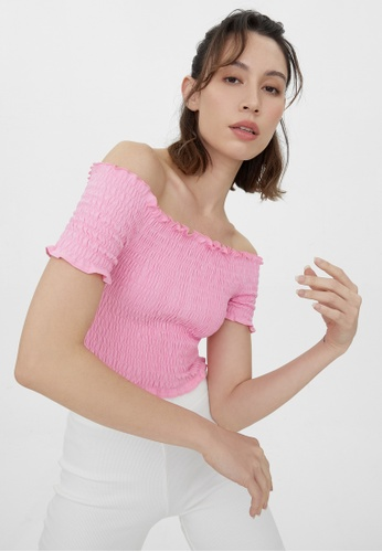 Pomelo pink Smock Cold Shoulder Top - Pink BD0AEAA56D32F9GS_1
