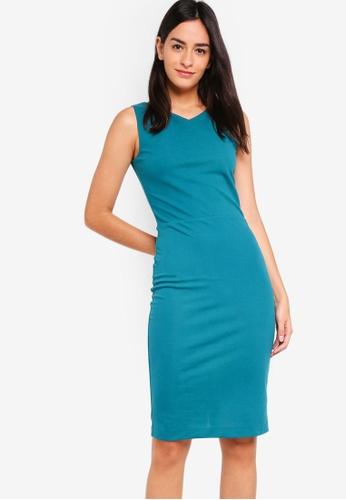 ZALORA BASICS green V-Neck Sheath Dress D87ECAA5D5E2FCGS_1