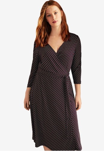 90841597c95 Violeta by MANGO red Plus Size Striped Wrap Dress 94A62AAE23A9D1GS 1