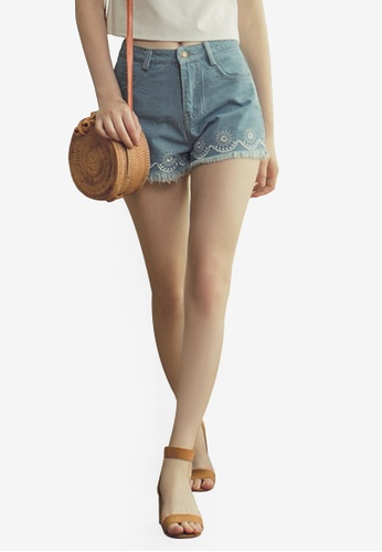 Eyescream blue Embroidered Hem Denim Shorts FF78EAAD53C09CGS_1