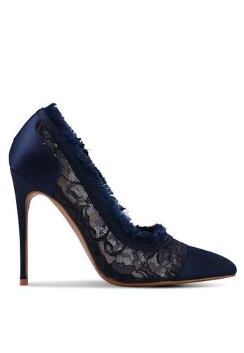 Velvet navy Lace Detail Heels 27FEASH0F89730GS_1