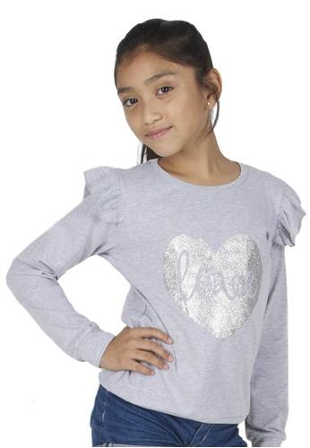 Adkidz silver Adkidz Ruffle Sleeve top with Sparkly Heart Print 05414KA892CFD3GS_1