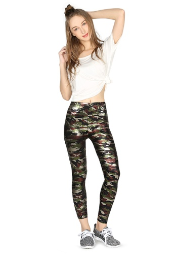 London Rag green Camouflage Shiny Leggings E6690AAAC831E4GS_1
