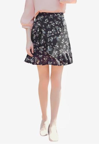 YOCO navy Frilled Floral Skirt FEF16AAF3CA43DGS_1