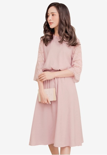Yoco pink Lacy Sleeved Blouson Dress 4257DAA203A046GS_1