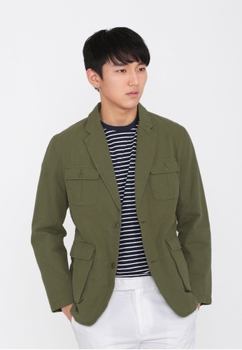A for Arcade green Patch Pocket Hunting Jacket in Olive 2863CAAED2A2AAGS_1