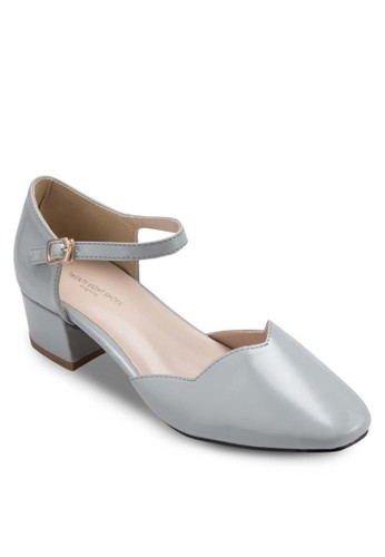 Pantone 色esprit 台中側鏤空粗跟涼鞋, 女鞋, 細帶高跟鞋