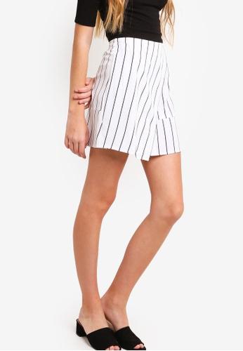 Something Borrowed white Striped Mini Skirt 74F98AA674088EGS_1