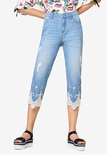 ESPRIT blue Denim Cropped Pants 47740AAF0E77C3GS_1
