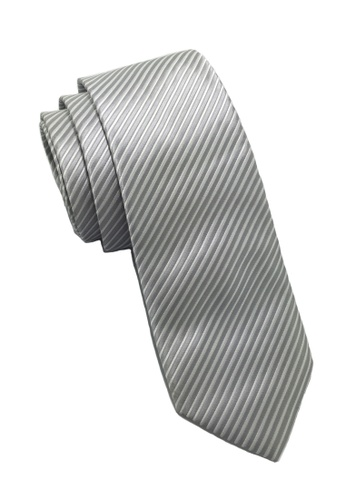 Splice Cufflinks Regalia Series Silver Stripes Polyester Fabric Tie SP744AC41QOCSG_1