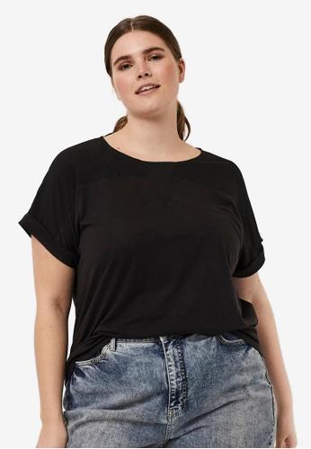 Vero Moda black Curve Short Sleeved Top 2CE2FAAB0CD0E0GS_1