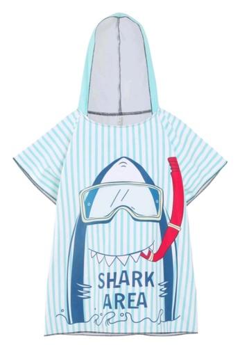Mommy Hugs white and blue Jaws Poncho Hooded Towel Swimwear CBF96KA1C665DFGS_1