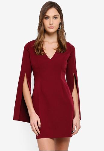 Vesper red Leonie Mini Dress With Split Sleeve 2823AAA70A7C47GS_1