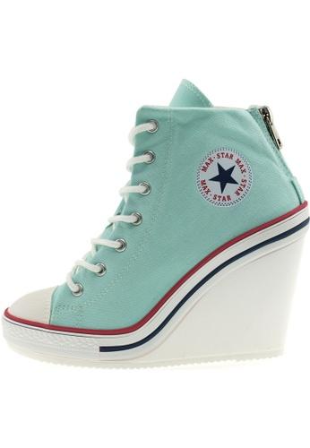 Maxstar Maxstar Women's 777 Back Zipper Canvas High Wedge Heel Sneakers US Women Size MA168SH60BZZHK_1