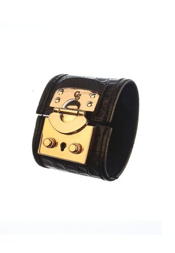 CSHEON black and gold Treasure Chest Haydes Croc Skin Black Leather Bracelet Cuff 681C8AC58EEF8AGS_1