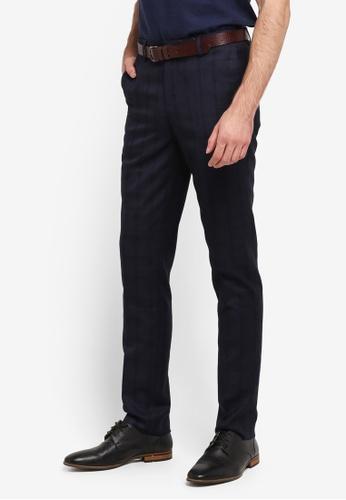 G2000 navy Checked TR Textured Formal Ultra Slim Pants G2754AA0SKVQMY_1